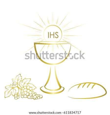 First Communion Symbols Nice Invitation Design Stock Vector Royalty