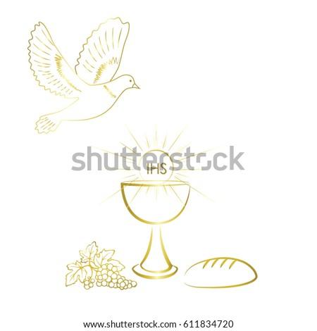 First Communion Symbols Nice Invitation Design Vector De Stock