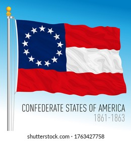 First Confederate historical flag, 1861-1863, vector illustration