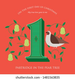 first day of christmas of the twelve days of christmas/ advent calendar template vector/illustration