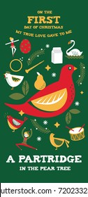 first day of christmas from the twelve days of christmas greetings template vector/illustration