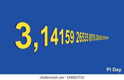 The first decimal digits of Pi symbol depicted in perspective vector illustration.