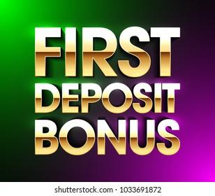 First Deposit Bonus banner, welcome bonus bright poster, gambling casino games, vector illustration