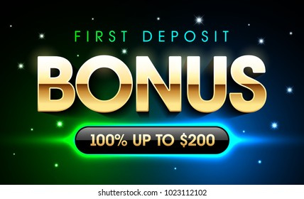 First deposit bonus gambling casino games banner, welcome bonus, vector illustration