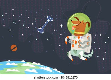 First dog astronaut in spacesuit floating in outer space chasing a sugar bone made of stars. The planet earth is under his feet. The dark cosmos with shining stars on background. Vector illustration