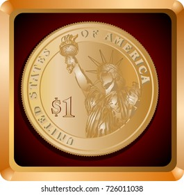 First dollar in a gold frame with a brown background vector illustration