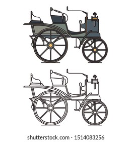 First electric Lucian car or vintage motor vehicle. XIX century motor automobile or vintage carriage, retro stagecoach or old cab. Isolated icons of closed wagon contour. Transportation theme