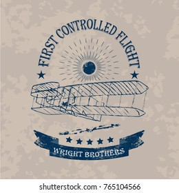 The first flight of Wright brothers airplane label in retro style on a light vintage background