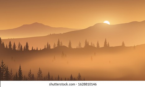 First golden rays of rising sun in a foggy mountain valley. Wild nature. Vector illustration, EPS 10.