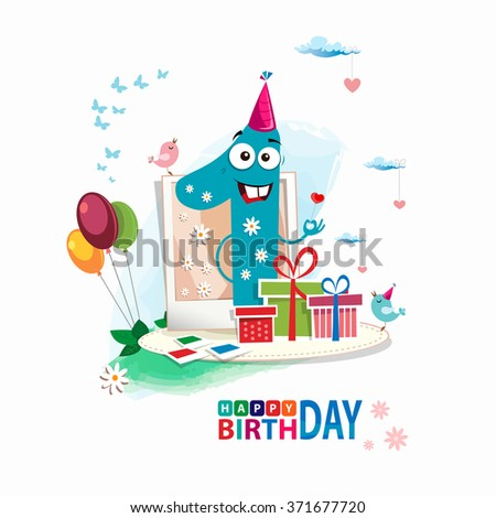 First Happy Birthday Color Card Happy Stock Vector Royalty Free