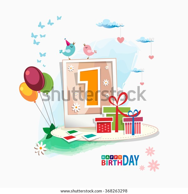 First Happy Birthday Color Card Celebration Stock Vector Royalty