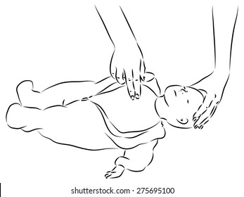 First help - cpr heart massage for baby