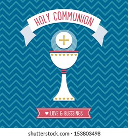 First Holy Communion Card template in blue, red and gold with vintage chevron background pattern. See my folio for other colors and for JPEG version.