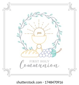 First Holy Communion Invitation with body Christ and grape with bread. vector illustration