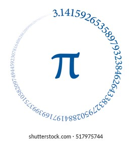 The first hundred digits of the number Pi are forming a circle. Value of the infinite number Pi accurate to ninety-nine decimal places. Blue colored sequence on white background. Vector illustration.