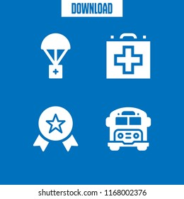 first icon. 4 first vector set. award, first aid kit, aid and school bus icons for web and design about first theme