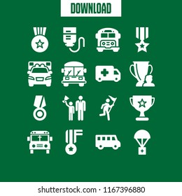 first icon. This set with medal, winner, ambulance and drop counter vector icons for mobile and web