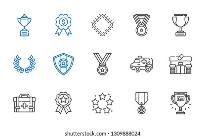 first icons set. Collection of first with trophy, medal, best, badges, first aid kit, pharmacy, ambulance, laurel, patch. Editable and scalable icons.