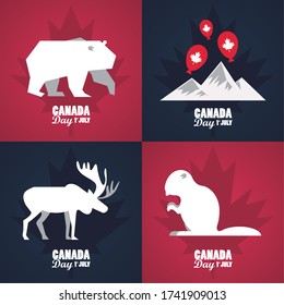first july canada day celebration poster with mountains and animals vector illustration design