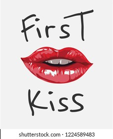 first kiss slogan with red lips illustration