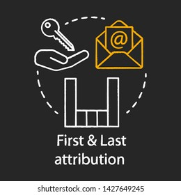 First and last attribution chalk concept icon. Attribution modeling types idea. Digital marketing channel. Conversion model. Web analytics. Vector isolated chalkboard illustration