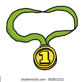 first medal / cartoon vector and illustration, hand drawn style, isolated on white background.