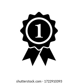 first medal icon symbol vector on white background. editable