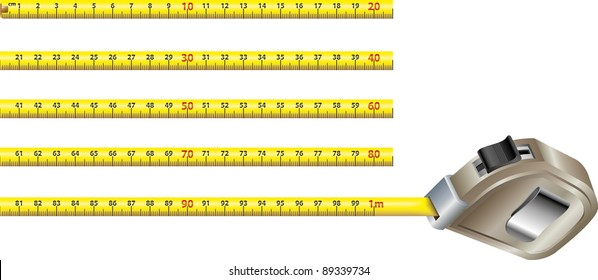 First meter of a yellow steel measure tape in blocks of twenty centimeters each. All artwork in real size 1:1