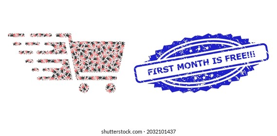 First Month Is Free Exclamation unclean stamp and vector recursive mosaic supermarket cart. Blue stamp contains First Month Is Free Exclamation caption inside rosette.