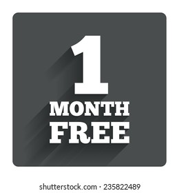 First month free sign icon. Special offer symbol. Gray flat square button with shadow. Modern UI website navigation. Vector