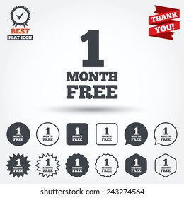 First month free sign icon. Special offer symbol. Circle, star, speech bubble and square buttons. Award medal with check mark. Thank you ribbon. Vector
