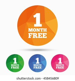 First month free sign icon. Special offer symbol. Triangular low poly button with flat icon. Vector