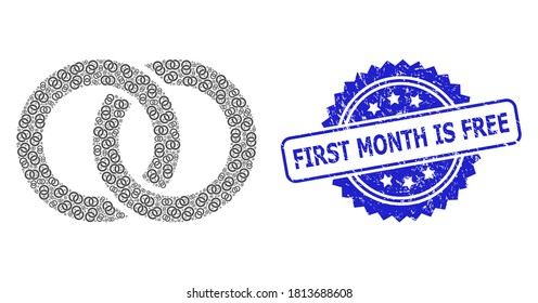 First Month Is Free unclean seal print and vector recursive collage wedding rings. Blue seal contains First Month Is Free title inside rosette.