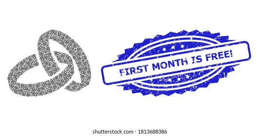 First Month Is Free! unclean stamp seal and vector recursive composition wedding rings. Blue stamp seal includes First Month Is Free! tag inside rosette.