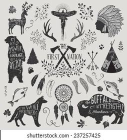 The First Nation - Set of design elements and clip art themed around Native Americans, their spirituality and crafts, including headdress, dream catcher, tomahawks and animal spirits