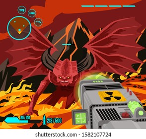 first person shooter videogame aiming nuclear weapon to a devil monster in hell
