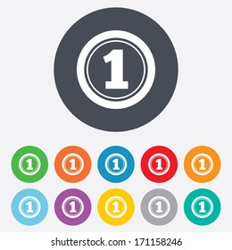 First place award sign. Winner symbol. Round colourful 11 buttons. Vector