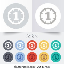 First place award sign. Winner symbol. Round 12 circle buttons. Shadow. Hand cursor pointer. Vector