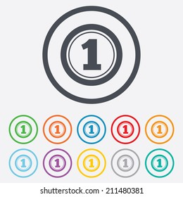 First place award sign. Winner symbol. Round circle buttons with frame. Vector