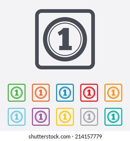 First place award sign. Winner symbol. Round squares buttons with frame. Vector