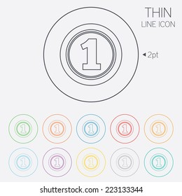 First place award sign. Winner symbol. Thin line circle web icons with outline. Vector