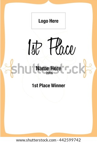 First Place Certificate Stock Vector (Royalty Free) 442599742 ...
