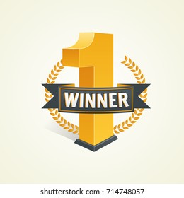 First place competition winner. Win award. Champion celebration with gold trophy, prize. Vector illustration banner. Victory symbol with ribbon.