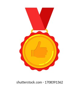 First place flat golden medal thumb up like award with ribbon for viner, 1st isolated gold vector reward icon, champ illustration.