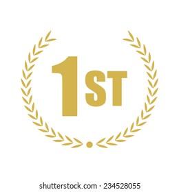 First place, gold laurel, vector illustration