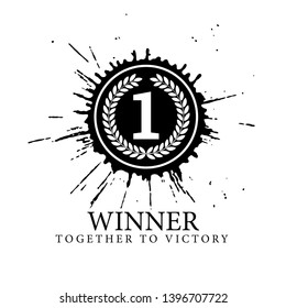First place mark. The number 1 is surrounded by a wreath against the backdrop of blots. Congratulations on your victory. Poster template for Celebrating event party. Vector illustration