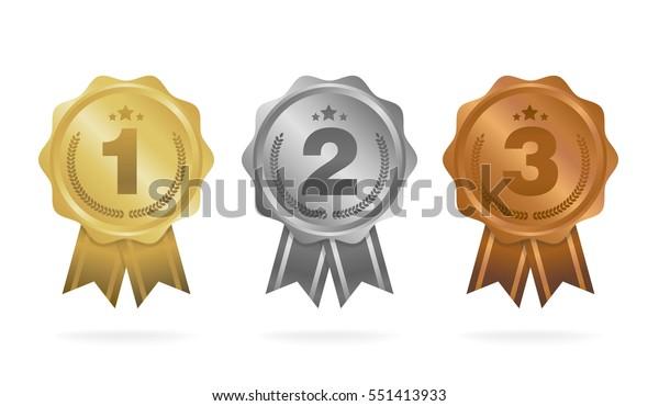 1位 2位 3位 白い背景にリボンと星と賞牌 ベクターイラスト のベクター画像素材 ロイヤリティフリー