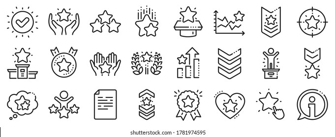 First place, star rating and winner medal. Ranking line icons. Shoulder strap, army achievement and victory ribbon icons. Star ranking, champion and winner trophy. Best level. Vector