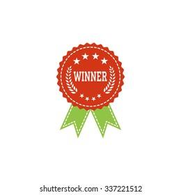 First place winner award badge, award ribbon - vector illustration