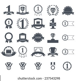 First Place Winner awards icons set,  ribbons and badges, vector illustration